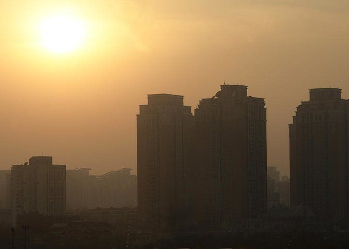 Sunset Greeting Card featuring the photograph Residential Sunset - Beijing China by Brendan Reals