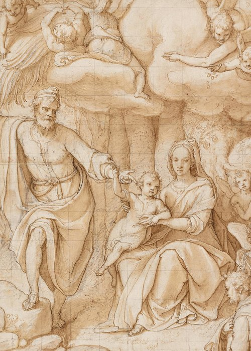 Zuccaro Greeting Card featuring the drawing Rest On The Flight Into Egypt by Federico Zuccaro