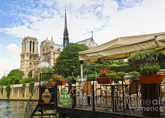 Notre Greeting Card featuring the photograph Restaurant On Seine by Elena Elisseeva