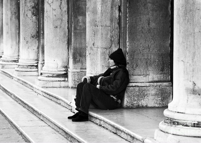 Resting At St. Mark's Square Greeting Card featuring the photograph Resting At St. Mark's Square by John Rizzuto