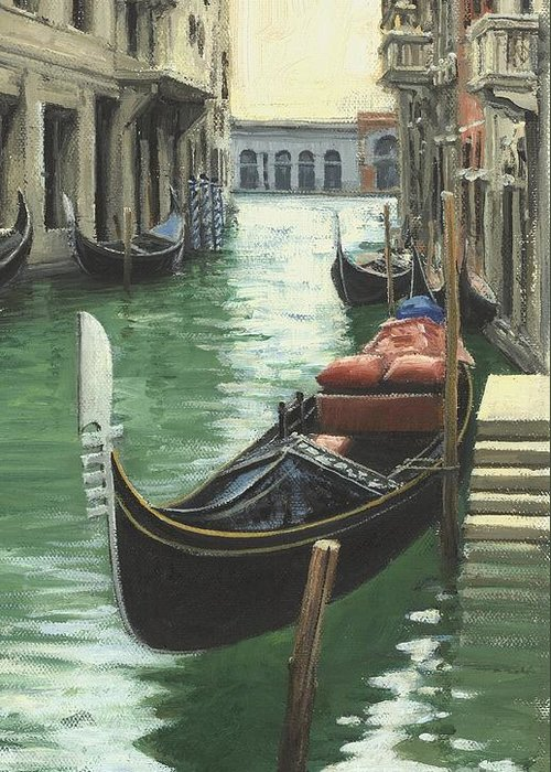 Venice Greeting Card featuring the painting Resting Gondola by Michael Swanson