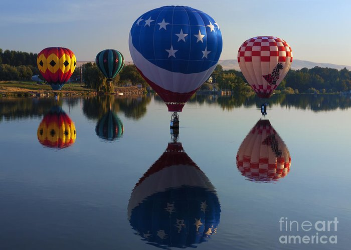 Balloons Greeting Card featuring the photograph Resting On The Water by Mike Dawson