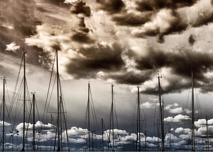 Art Greeting Card featuring the photograph Resting Sailboats by Stelios Kleanthous