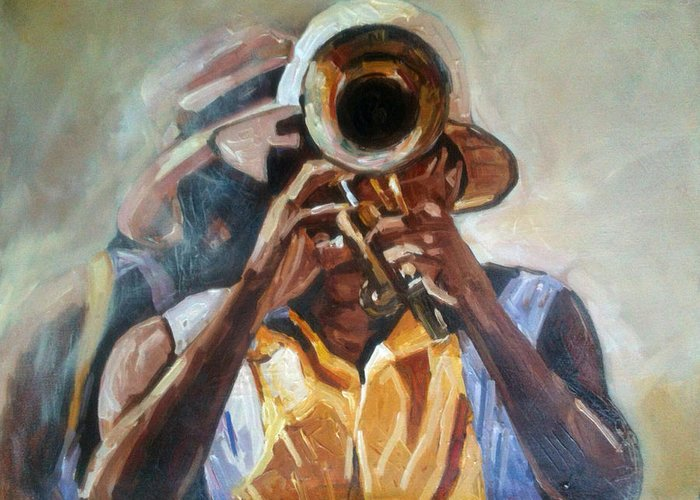 Greeting Card featuring the painting Restless Musician by Jeffrey Samuels