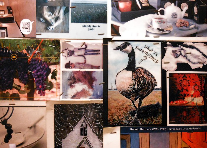 Collage Greeting Card featuring the photograph Restroom Wall Collage by Sherry Dooley