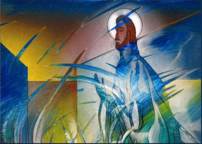 Jesus Greeting Card featuring the painting Resurrection Of Christ 1990 by Glenn Bautista