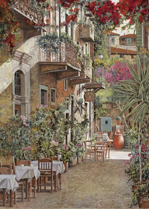 Greece Greeting Card featuring the painting Rethimnon-crete-greece by Guido Borelli