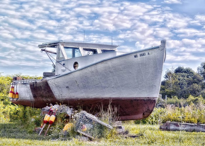 Boat Greeting Card featuring the photograph Retired by Richard Bean