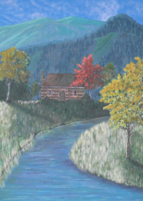 Landscape Greeting Card featuring the painting Retreat by Candace Shockley
