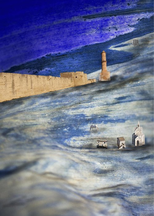Blue Greeting Card featuring the digital art Retreat Of The Waters by Alfredo Machado