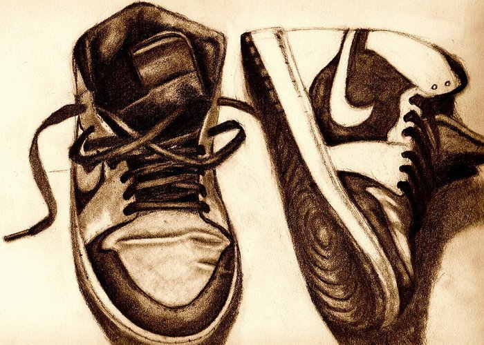Shoes Greeting Card featuring the drawing Retro 1 by Dallas Roquemore