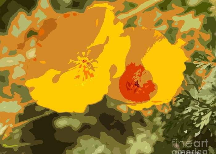 Abstract California Poppies Photographs Greeting Card featuring the photograph Retro Abstract Poppies 3 by Artist and Photographer Laura Wrede