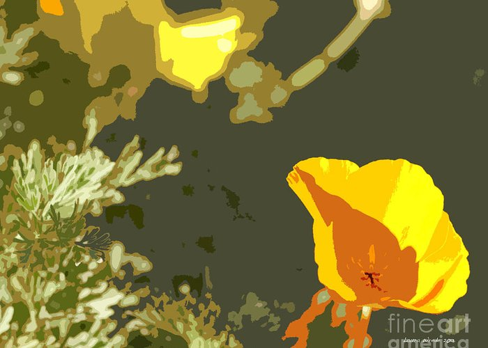 Abstract California Poppies Photographs Canvas Prints Greeting Card featuring the photograph Retro Abstract Poppies 4 by Artist and Photographer Laura Wrede