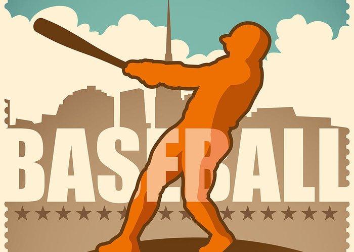 Play Greeting Card featuring the digital art Retro Baseball Poster. Vector by Radoman Durkovic