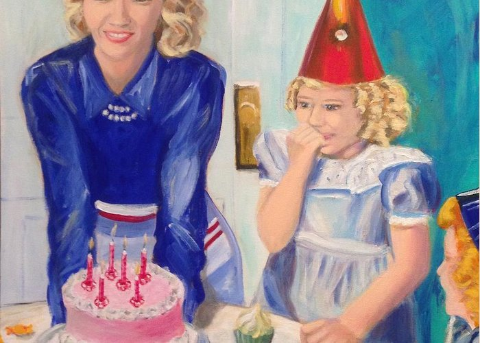 Birthday Greeting Card featuring the painting Retro Birthday by John Klein