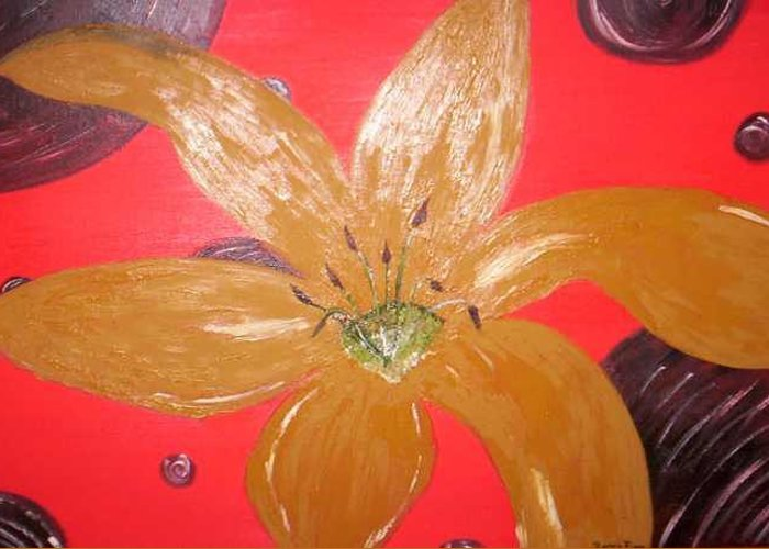 Gold Greeting Card featuring the painting Retro Flower by Becca Haney