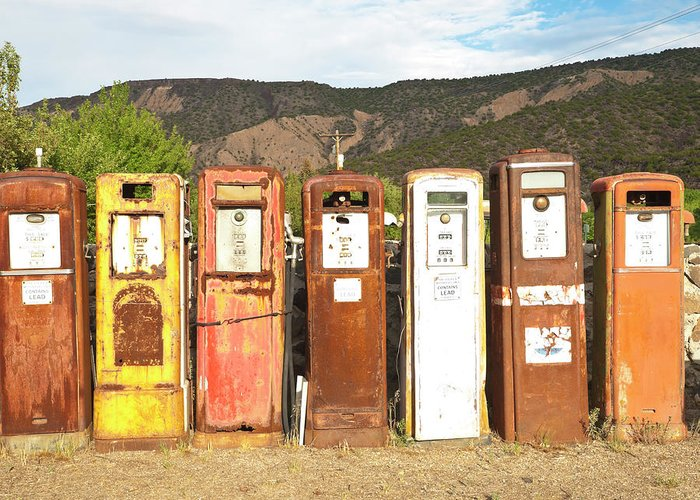 Home Decor Greeting Card featuring the photograph Retro Gas Pumps In Outdoor Museum Nm by Helovi