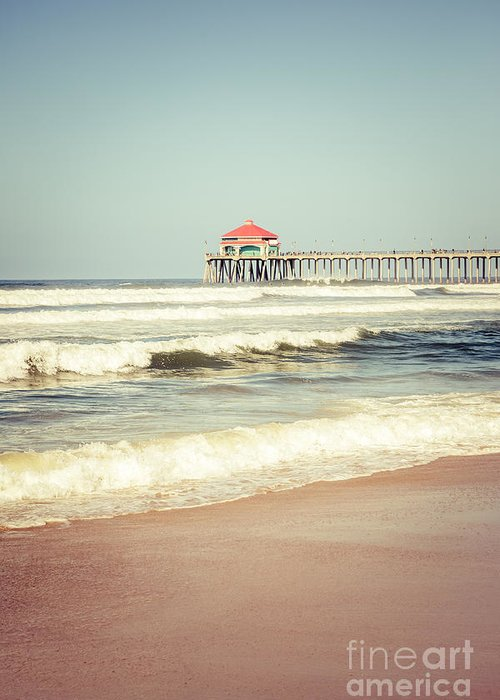 America Greeting Card featuring the photograph Retro Photo Of Huntington Beach Pier by Paul Velgos