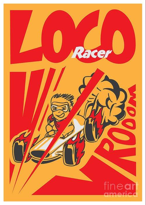 Motor Greeting Card featuring the digital art Retro Poster Cartoon Vintage Race Car by Pedro Alexandre Teixeira