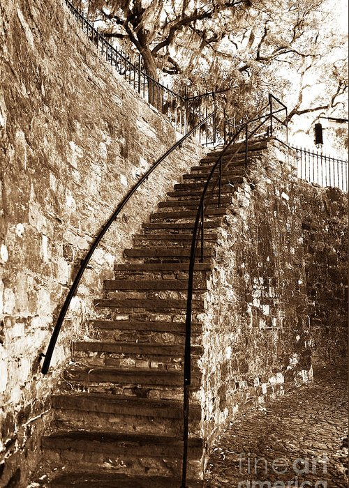 Retro Stairs In Savannah Greeting Card featuring the photograph Retro Stairs In Savannah by John Rizzuto