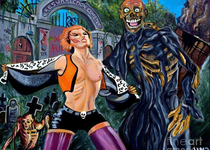 Return Of The Living Dead Greeting Card featuring the painting Return Of The Living Dead by Jose Mendez