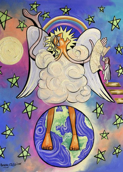 Revelation Chapter 10 Framed Prints Greeting Card featuring the painting Revelation Chapter 10 by Anthony Falbo