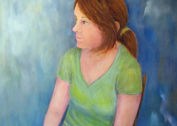 Girl Greeting Card featuring the painting Reverie Of A Young Woman by Loretta Luglio
