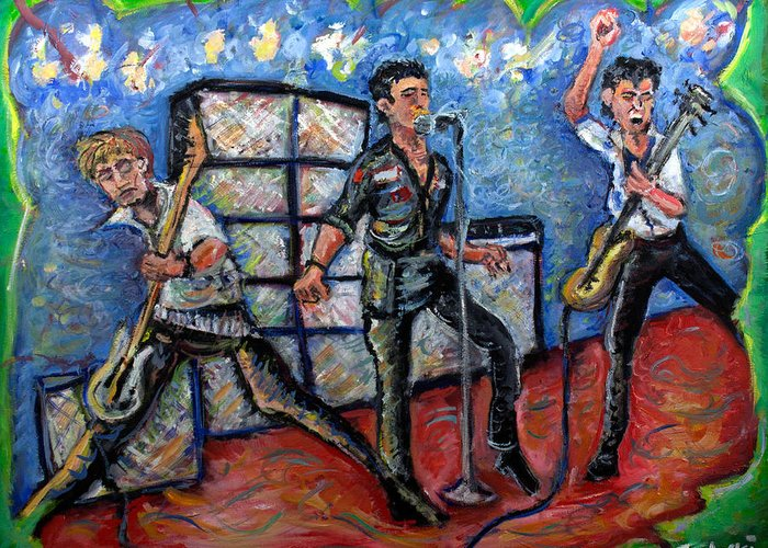 The Clash Greeting Card featuring the painting Revolution Rock The Clash by Jason Gluskin