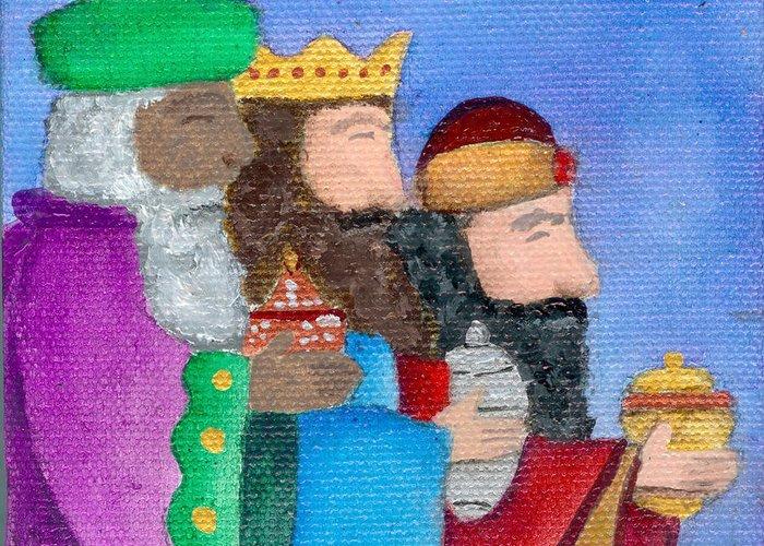 Reyes Magos Greeting Card featuring the painting Reyes Magos by Karen Ayala