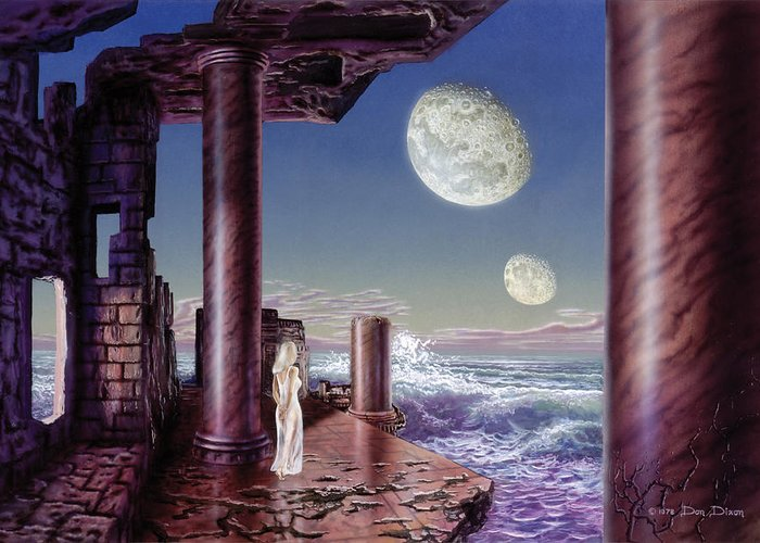 Science Fiction Greeting Card featuring the painting Rhiannon by Don Dixon