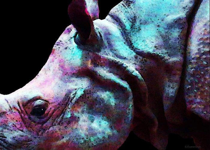 Rhinoceros Greeting Card featuring the painting Rhino 1 - Rhinoceros Art Prints by Sharon Cummings