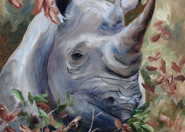 Rhino Rhinoseros Wildlife Animal Grey Gray Greeting Card featuring the painting Rhino by Brenda Thour