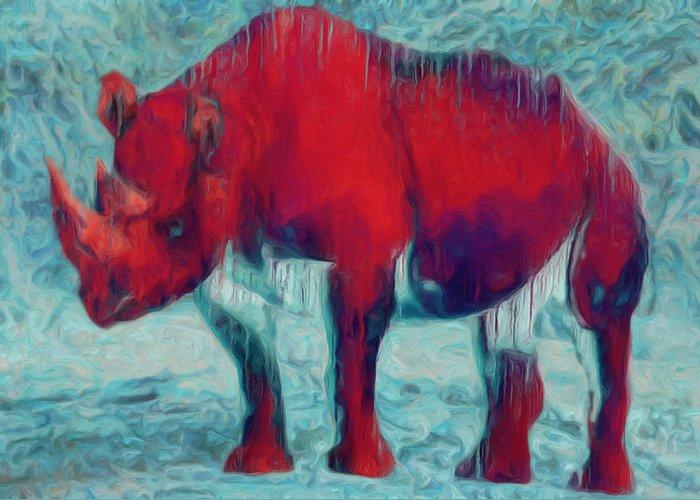 Rhino Greeting Card featuring the painting Rhino by Jack Zulli
