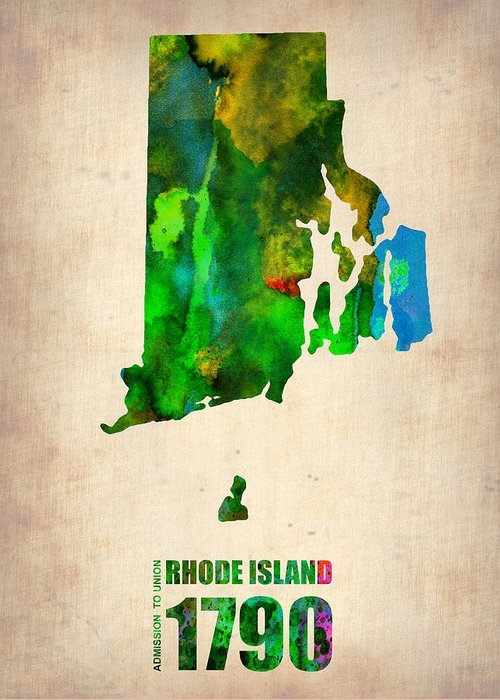 Rhode Island Greeting Card featuring the digital art Rhode Island Watercolor Map by Naxart Studio