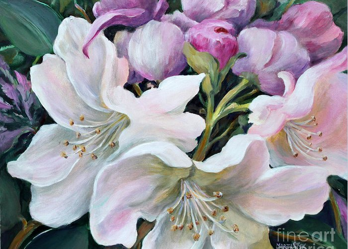 Flowers Greeting Card featuring the painting Rhododendron by Marta Styk