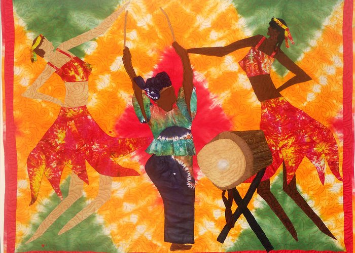 Fiber Art. Art Quilt. African American Art Greeting Card featuring the tapestry - textile Rhythms by Aisha Lumumba