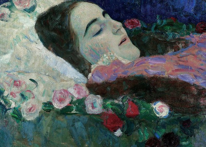 Female; Dead; Death; Flowers; Peaceful; At Rest; Young Greeting Card featuring the painting Ria Munk On Her Deathbed by Gustav Klimt