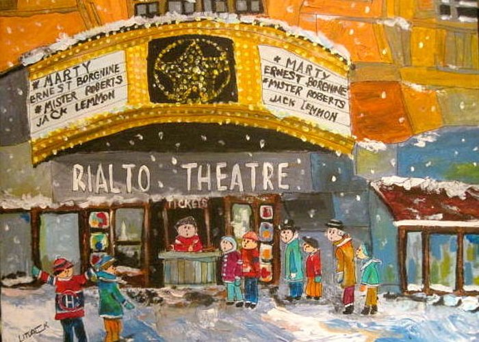Rialto Theatre Greeting Card featuring the painting Rialto Theatre 1956 by Michael Litvack