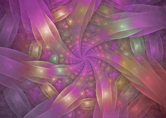 Fractal Greeting Card featuring the digital art Ribbons by Sandy Keeton