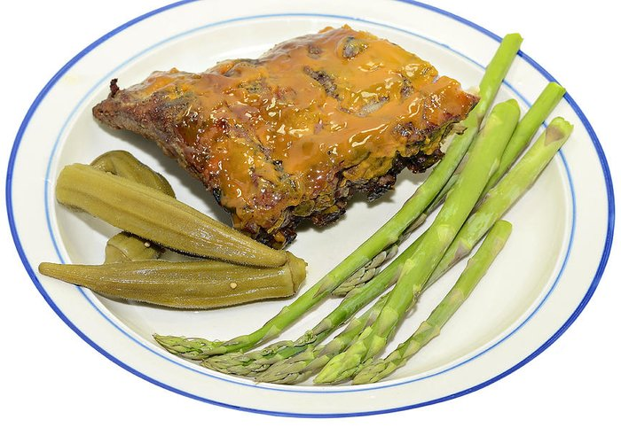 Sparerib Greeting Card featuring the photograph Ribs Plate With Vegetables by Susan Leggett