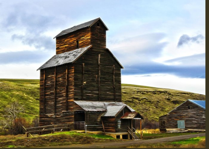 Cabin Greeting Card featuring the photograph Rice Elevator 1916 by Steve McKinzie