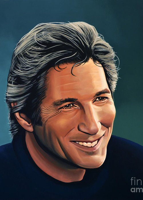 Richard Gere Greeting Card featuring the painting Richard Gere by Paul Meijering