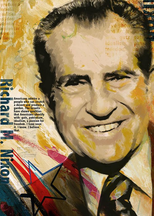 Richard Nixon Greeting Card featuring the painting Richard Nixon by Corporate Art Task Force