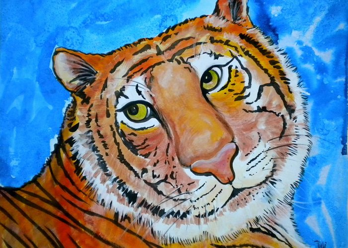 Richard Parker Greeting Card featuring the painting Richard Parker by Debi Starr
