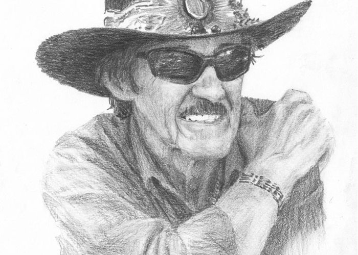 <a Href=http://miketheuer.com Target =_blank>www.miketheuer.com</a> Richard Petty Pencil Portrait Greeting Card featuring the drawing Richard Petty Pencil Portrait by Mike Theuer