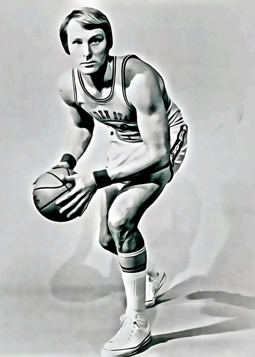 Rick Barry Greeting Card featuring the painting Rick Barry by Florian Rodarte