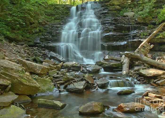 Ricketts Glen Waterfalls Greeting Card featuring the photograph Ricketts Glen Waterfall Canyon by Adam Jewell