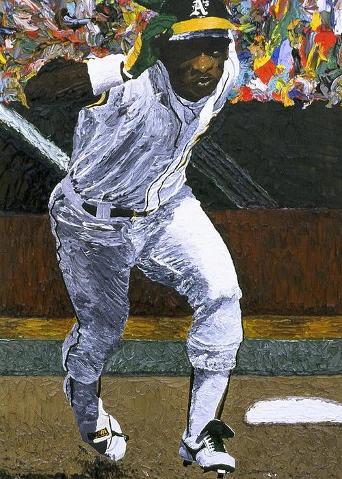 Rickey Henderson Greeting Card featuring the painting Rickey Henderson by Mike Rabe
