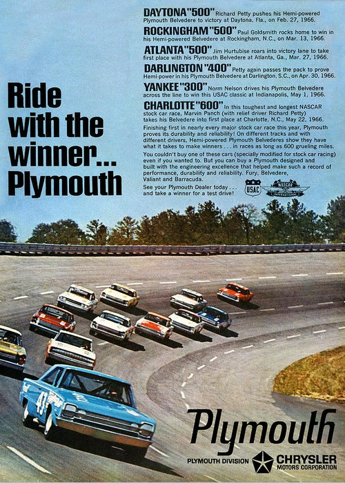 Ride Greeting Card featuring the digital art Ride With The Winner... Plymouth by Digital Repro Depot