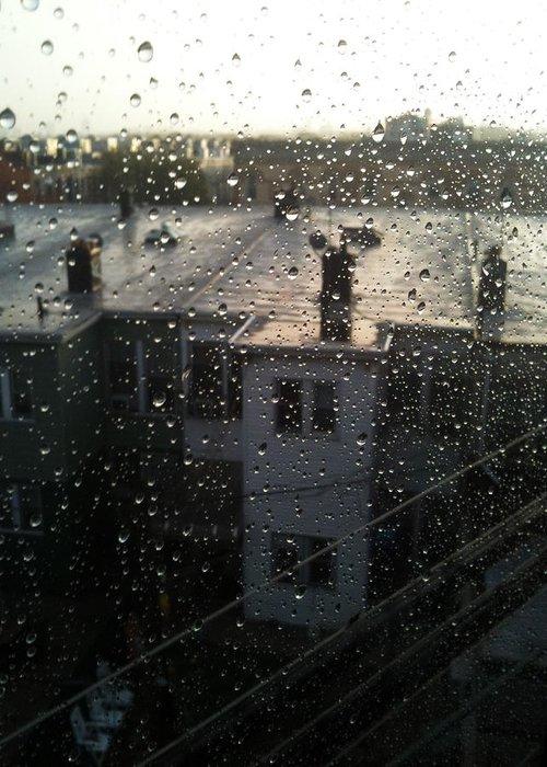 Mieczyslaw Greeting Card featuring the photograph Ridgewood Houses Wet With Rain by Mieczyslaw Rudek Mietko